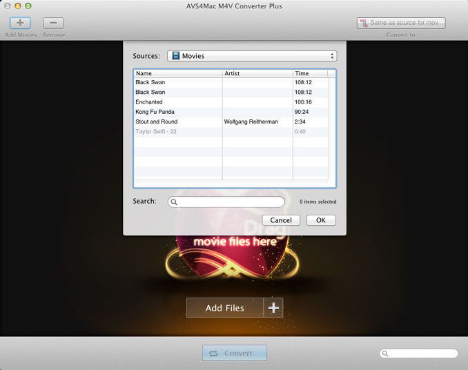 add iTunes M4V files