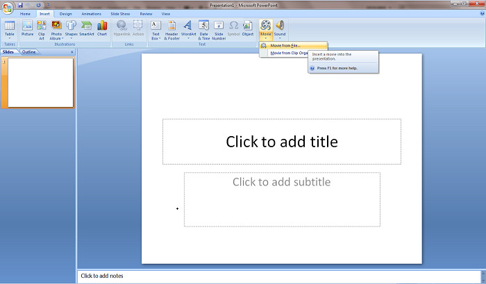 add iTunes M4V video clips to PowerPoint