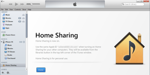 turn on itunes home sharing