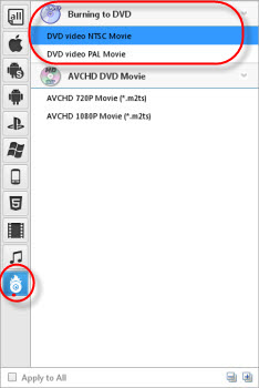 choose dvd output format